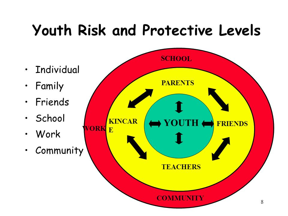 8 Youth Risk and Protective Levels Individual Family Friends School Work Community YOUTH PARENTS FRIENDS TEACHERS KINCAR E SCHOOL COMMUNITY WORK