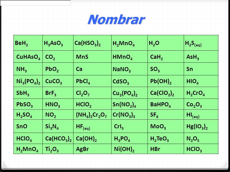 BeH 2 H 3 AsO 3 Ca(HSO 3 ) 2 H 2 MnO 4 H2OH2OH 2 S (aq) CuHAsO 4 CO 2 MnS HMnO 4 CaH 2 AsH 3 NH 3 PbO 2 Ca NaNO 3 SO 3 Sn Ni 3 (PO 4 ) 2 CuCO 3 PbCl 4
