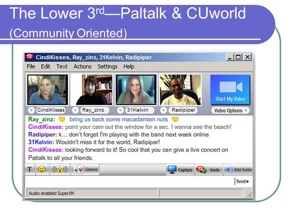 The Lower 3 rd —Paltalk & CUworld (Community Oriented)