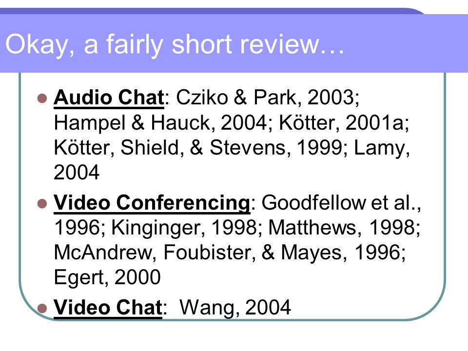 Okay, a fairly short review… Audio Chat: Cziko & Park, 2003; Hampel & Hauck, 2004; Kötter, 2001a; Kötter, Shield, & Stevens, 1999; Lamy, 2004 Video Conferencing: Goodfellow et al., 1996; Kinginger, 1998; Matthews, 1998; McAndrew, Foubister, & Mayes, 1996; Egert, 2000 Video Chat: Wang, 2004