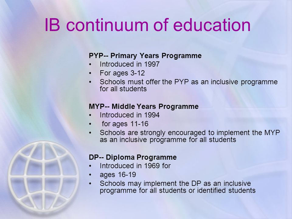 PYP-- Primary Years Programme Introduced in 1997 For ages 3-12 Schools must offer the PYP as an inclusive programme for all students MYP-- Middle Years Programme Introduced in 1994 for ages 11-16 Schools are strongly encouraged to implement the MYP as an inclusive programme for all students DP-- Diploma Programme Introduced in 1969 for ages 16-19 Schools may implement the DP as an inclusive programme for all students or identified students IB continuum of education