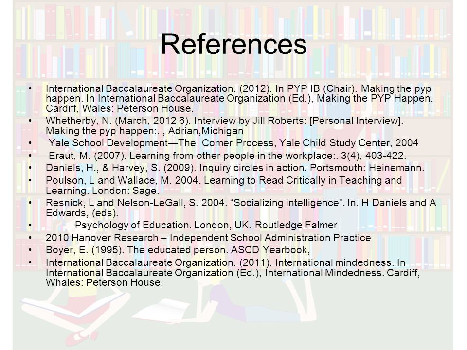 References International Baccalaureate Organization.