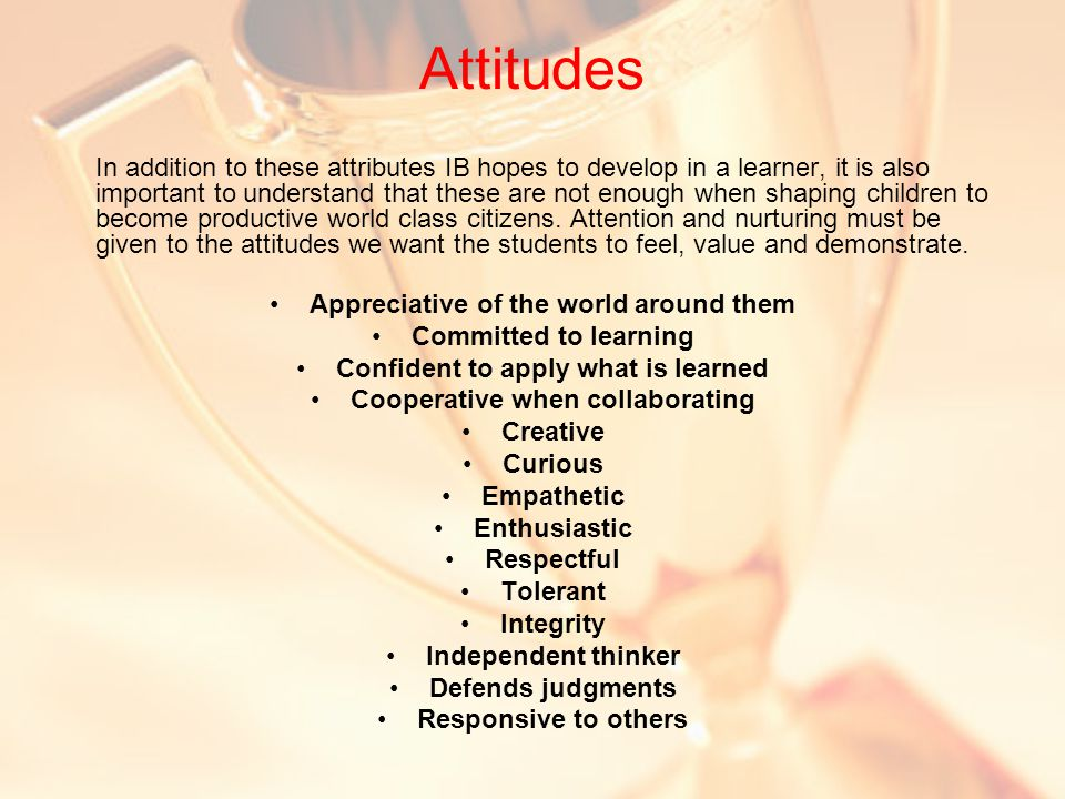 Attitudes In addition to these attributes IB hopes to develop in a learner, it is also important to understand that these are not enough when shaping children to become productive world class citizens.
