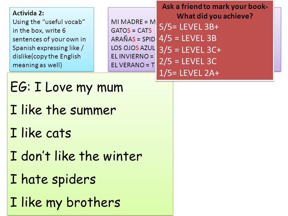 Useful vocab! MI MADRE = MY MUM GATOS = CATS ARAÑAS = SPIDERS LOS OJOS AZULES = BLUE EYES EL INVIERNO = THE WINTER EL VERANO = THE SUMMER Useful vocab