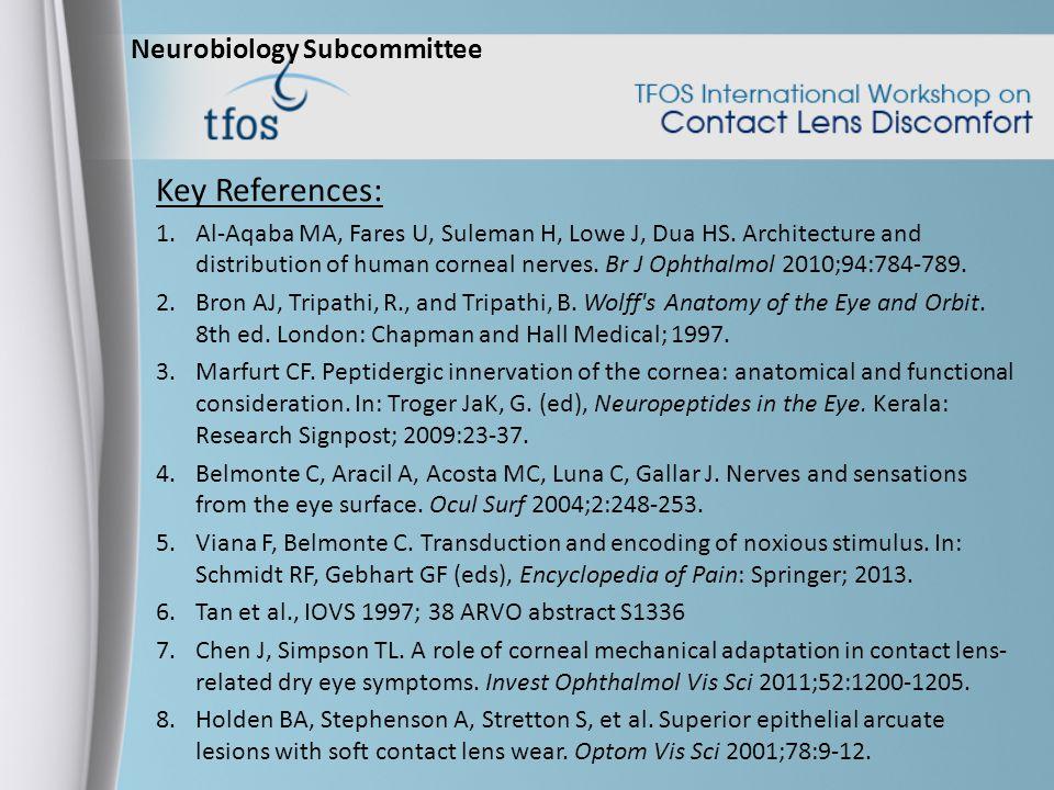 Neurobiology Subcommittee Key References: 1.Al-Aqaba MA, Fares U, Suleman H, Lowe J, Dua HS.