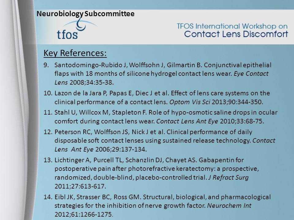 Neurobiology Subcommittee Key References: 9.Santodomingo-Rubido J, Wolffsohn J, Gilmartin B.