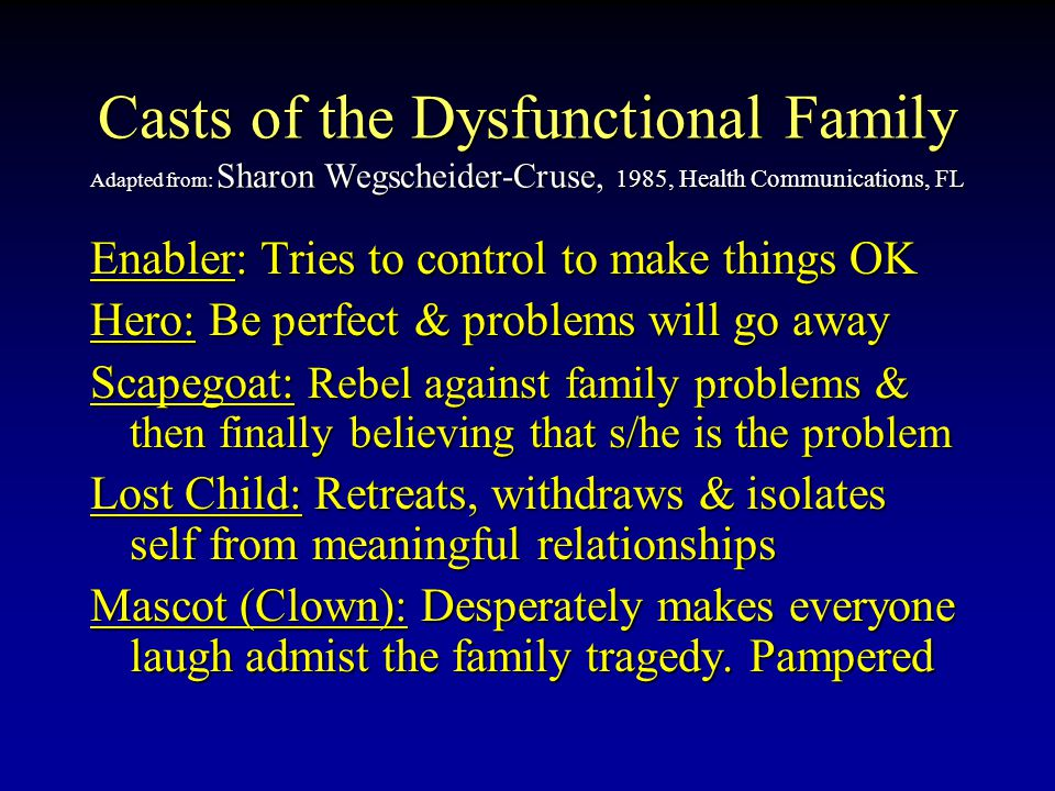 Casts of the Dysfunctional Family Adapted from: Sharon Wegscheider-Cruse, 1985, Health Communications, FL Enabler: Enabler: Tries to control to make things OK Hero: Hero: Be perfect & problems will go away Scapegoat: Scapegoat: Rebel against family problems & then finally believing that s/he is the problem Lost Child: Child: Retreats, withdraws & isolates self from meaningful relationships Mascot (Clown): (Clown): Desperately makes everyone laugh admist the family tragedy.