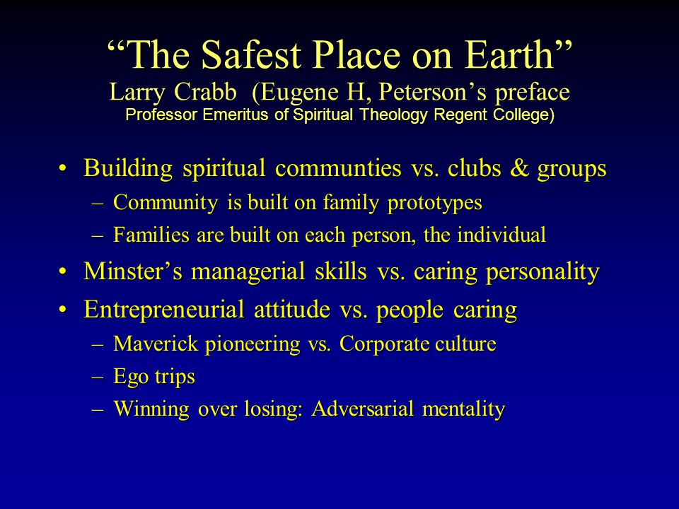 The Safest Place on Earth Larry Crabb (Eugene H, Peterson's preface Professor Emeritus of Spiritual Theology Regent College) Building spiritual communties vs.