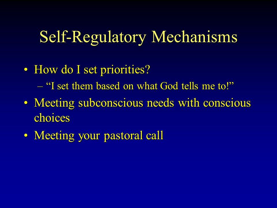 Self-Regulatory Mechanisms How do I set priorities How do I set priorities.