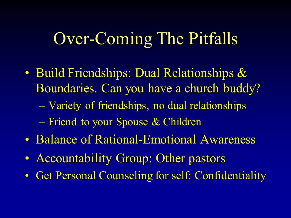 Over-Coming The Pitfalls Build Friendships: Dual Relationships & Boundaries.