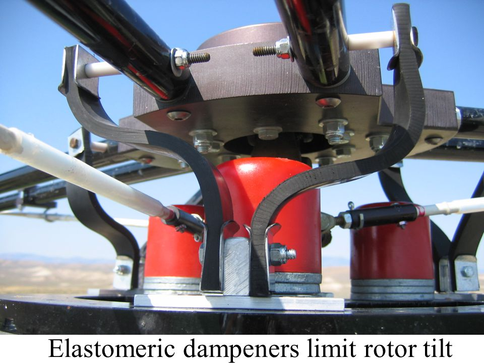 Elastomeric dampeners limit rotor tilt