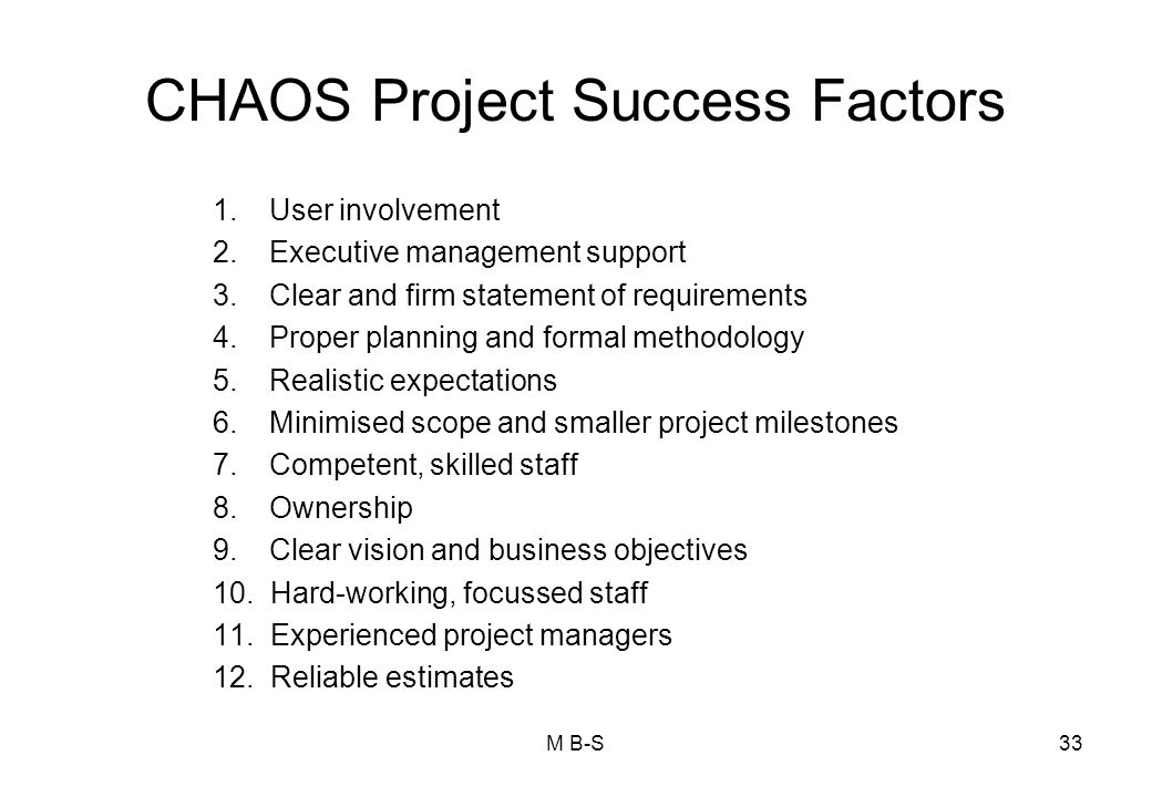 CHAOS Project Success Factors 1.User involvement 2.