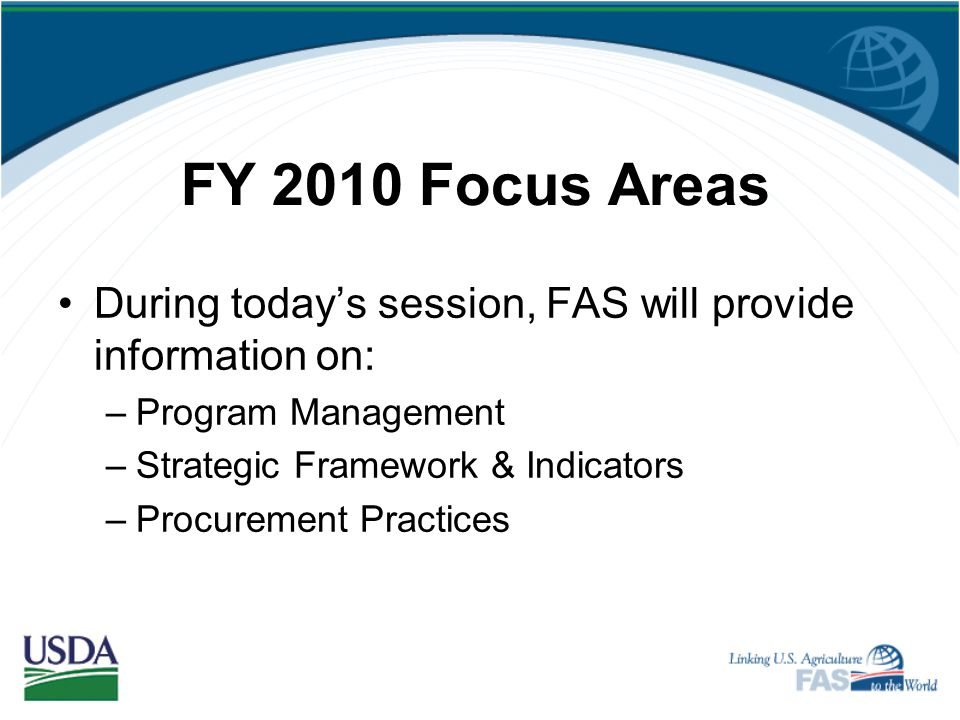 Key Topics Food aid quality Monitoring and evaluation Sustainability of projects Changes in regulations http://www.fas.usda.gov/food-aid.asp http://ww