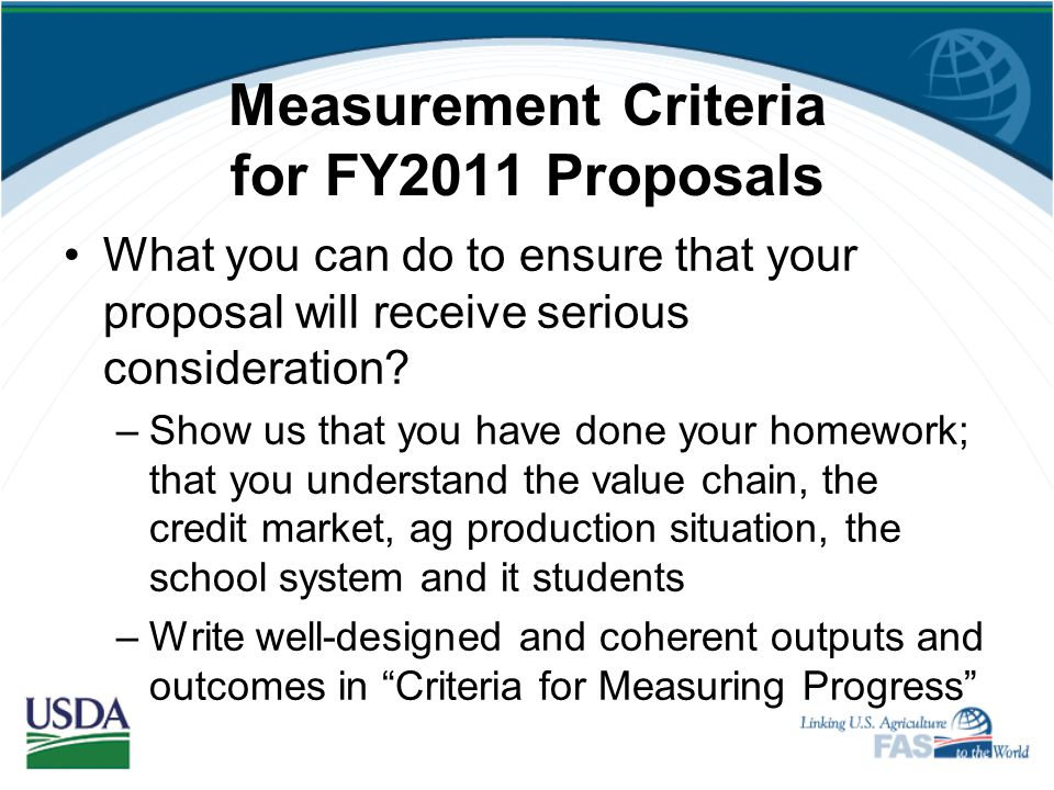 Measurement Criteria Clear and Meaningful Measures of Project Achievement Brian Goggin, Deputy Director Food Assistance Division Office of Capacity Bu