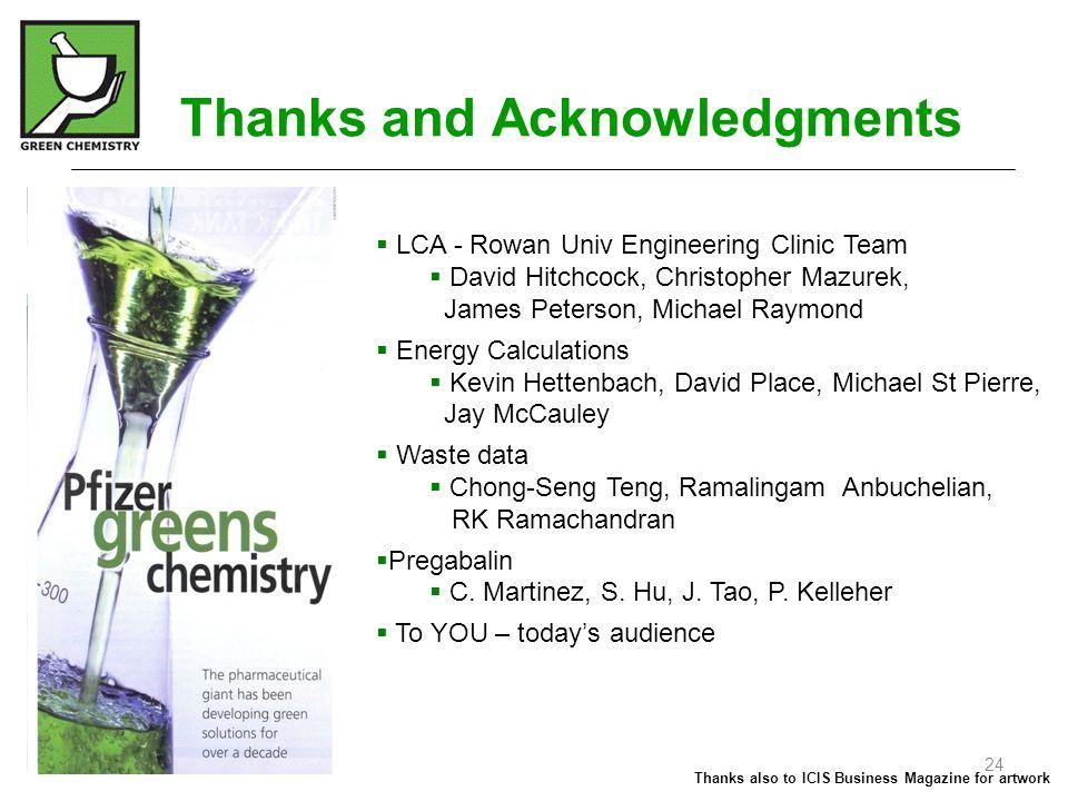 Thanks and Acknowledgments  LCA - Rowan Univ Engineering Clinic Team  David Hitchcock, Christopher Mazurek, James Peterson, Michael Raymond  Energy