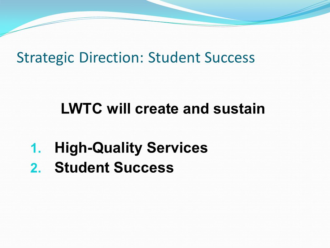 Strategic Direction: Student Success LWTC will create and sustain 1.