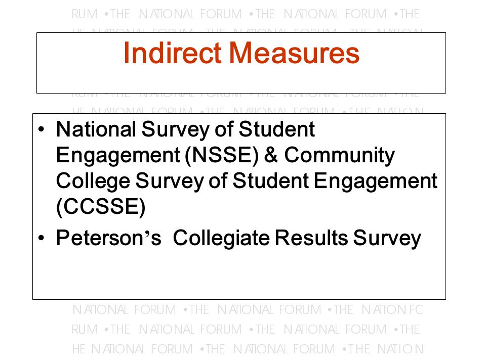 Indirect Measures National Survey of Student Engagement (NSSE) & Community College Survey of Student Engagement (CCSSE) Peterson ' s Collegiate Results Survey