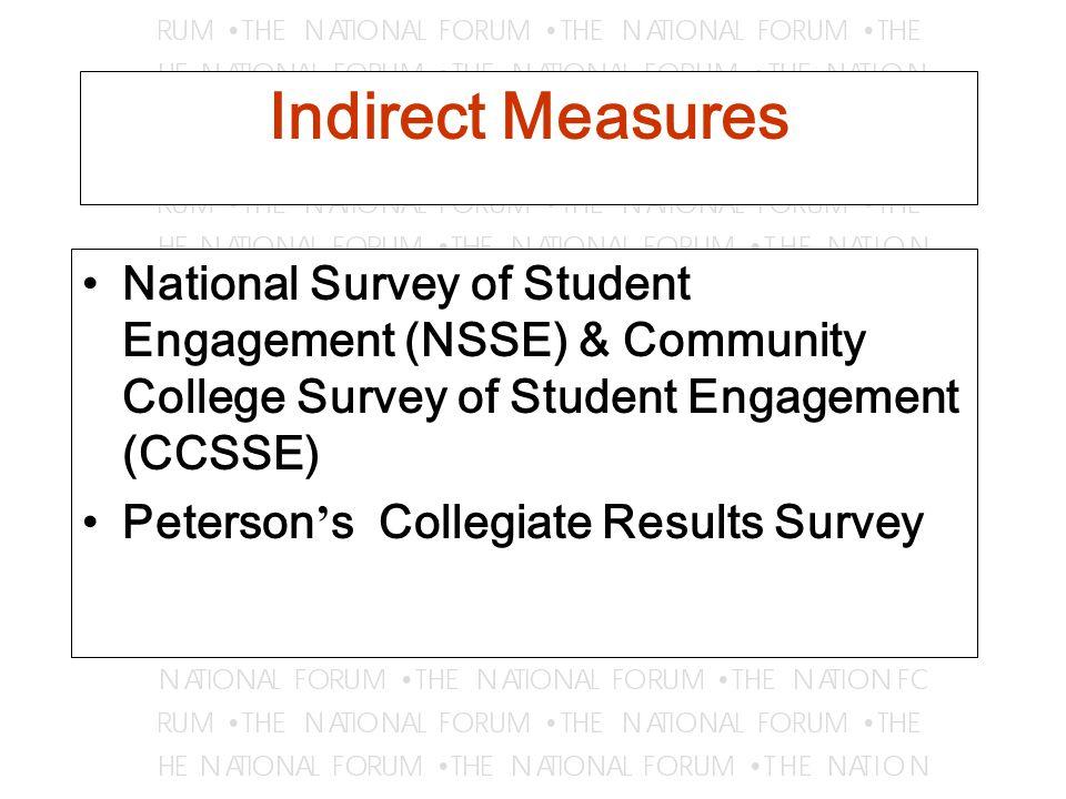 Indirect Measures National Survey of Student Engagement (NSSE) & Community College Survey of Student Engagement (CCSSE) Peterson ' s Collegiate Results Survey