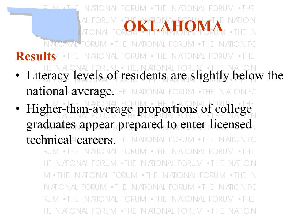 Learning OKLAHOMA Results Literacy levels of residents are slightly below the national average.