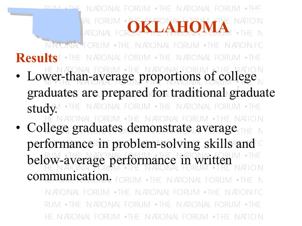 Learning OKLAHOMA Results Lower-than-average proportions of college graduates are prepared for traditional graduate study.
