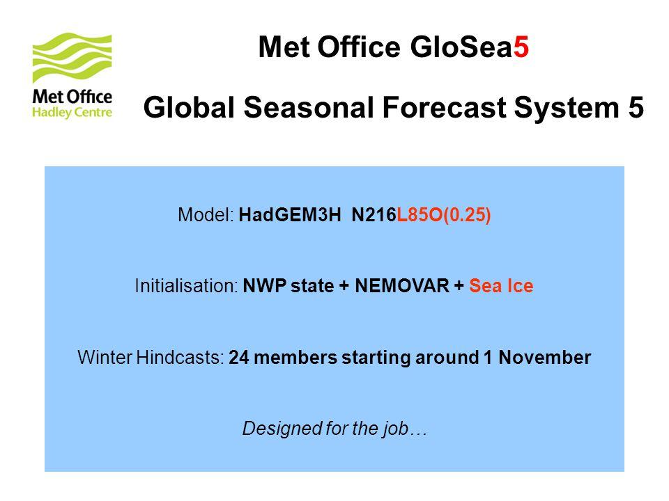 Met Office GloSea5 Global Seasonal Forecast System 5 Model: HadGEM3H N216L85O(0.25) Initialisation: NWP state + NEMOVAR + Sea Ice Winter Hindcasts: 24