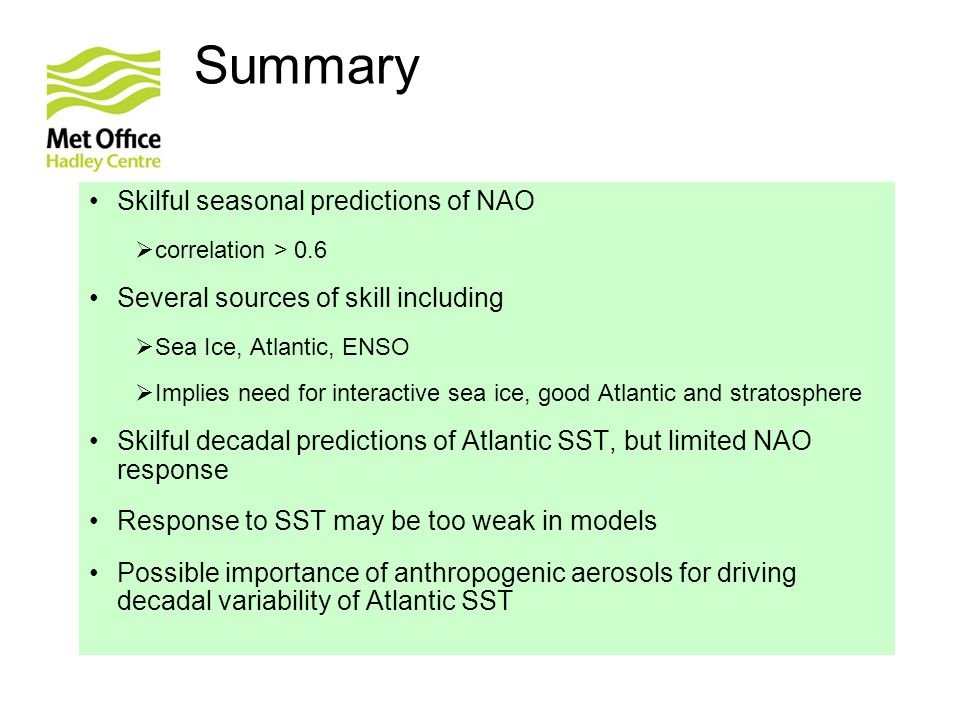 Summary Skilful seasonal predictions of NAO  correlation > 0.6 Several sources of skill including  Sea Ice, Atlantic, ENSO  Implies need for interactive sea ice, good Atlantic and stratosphere Skilful decadal predictions of Atlantic SST, but limited NAO response Response to SST may be too weak in models Possible importance of anthropogenic aerosols for driving decadal variability of Atlantic SST