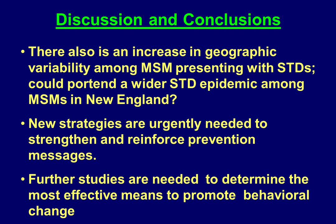 There also is an increase in geographic variability among MSM presenting with STDs; could portend a wider STD epidemic among MSMs in New England? New