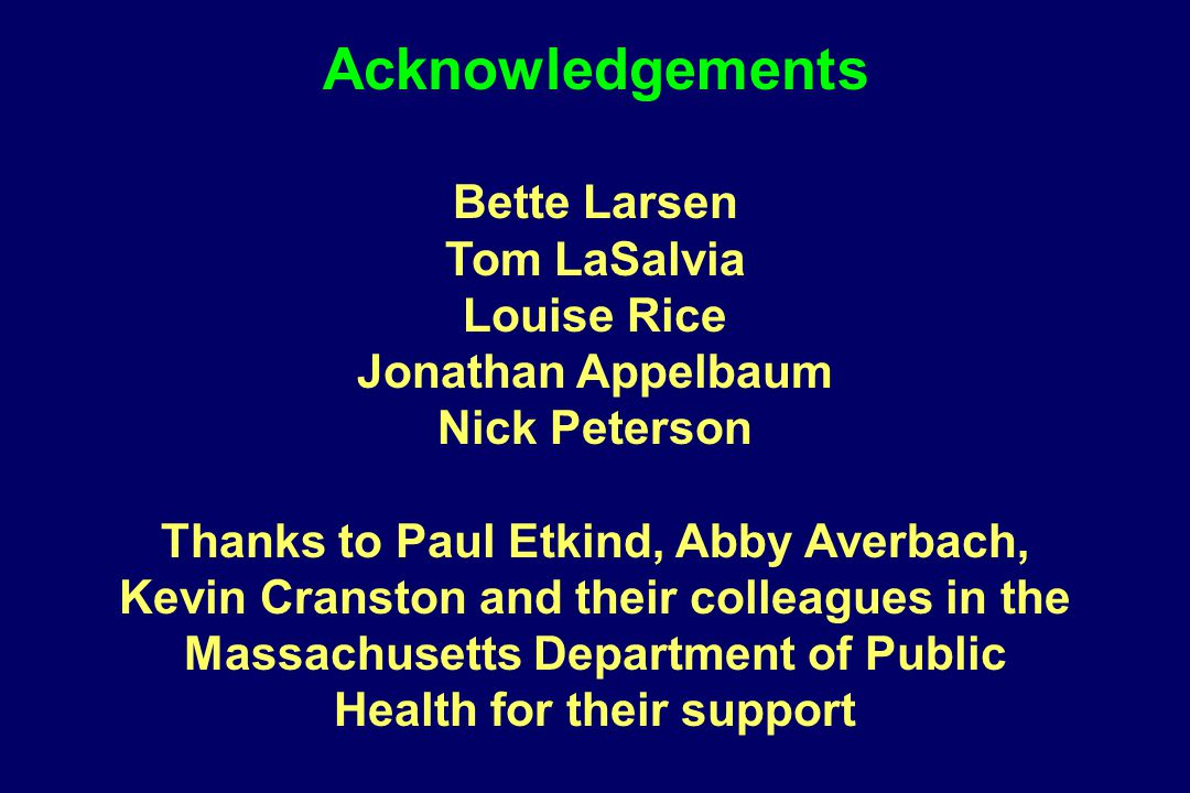Bette Larsen Tom LaSalvia Louise Rice Jonathan Appelbaum Nick Peterson Thanks to Paul Etkind, Abby Averbach, Kevin Cranston and their colleagues in th