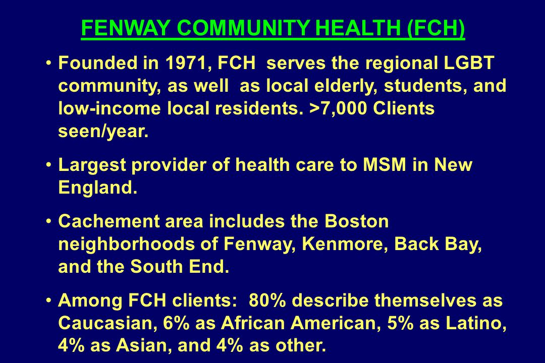 Founded in 1971, FCH serves the regional LGBT community, as well as local elderly, students, and low-income local residents. >7,000 Clients seen/year.