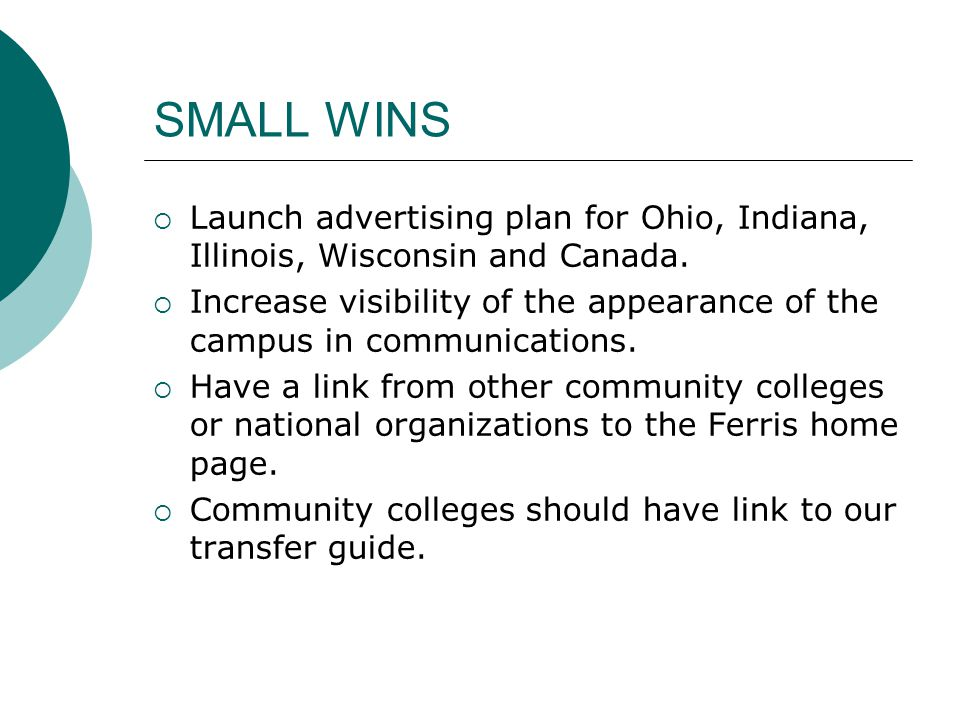 SMALL WINS  Launch advertising plan for Ohio, Indiana, Illinois, Wisconsin and Canada.