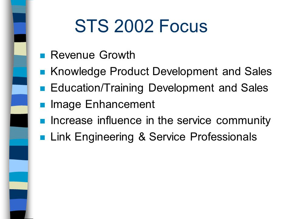 STS 2002 Focus n Revenue Growth n Knowledge Product Development and Sales n Education/Training Development and Sales n Image Enhancement n Increase influence in the service community n Link Engineering & Service Professionals