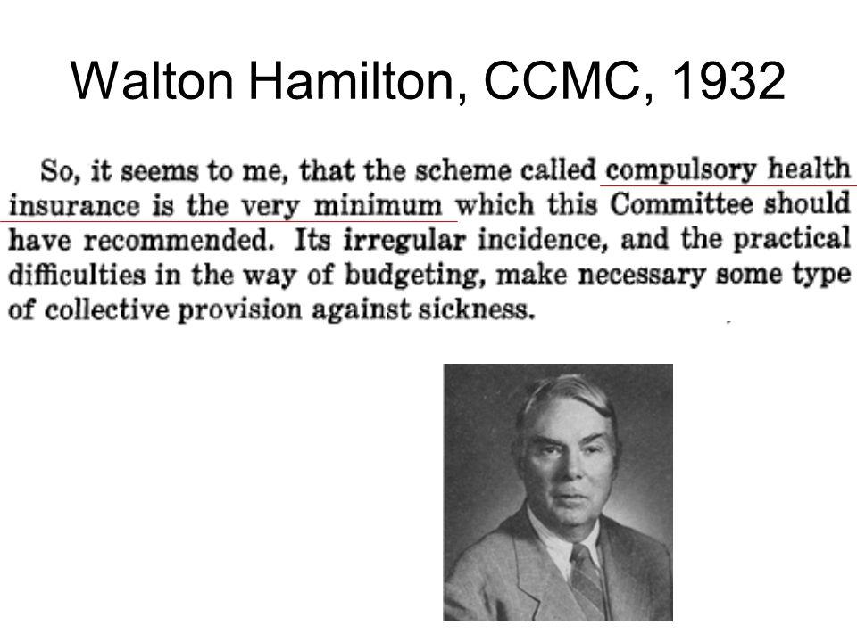 Walton Hamilton, CCMC, 1932