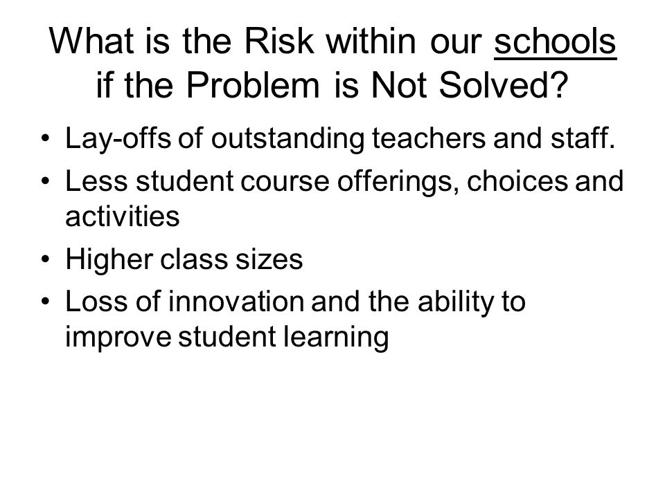 What is the Risk within our schools if the Problem is Not Solved.