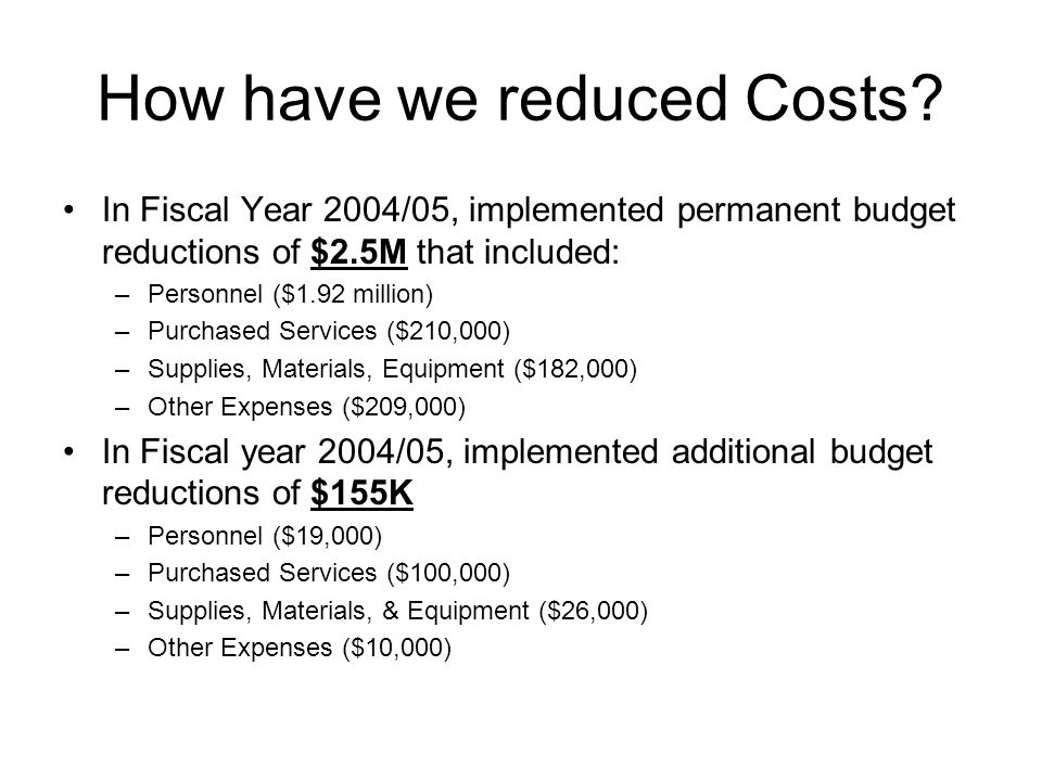 How have we reduced Costs.