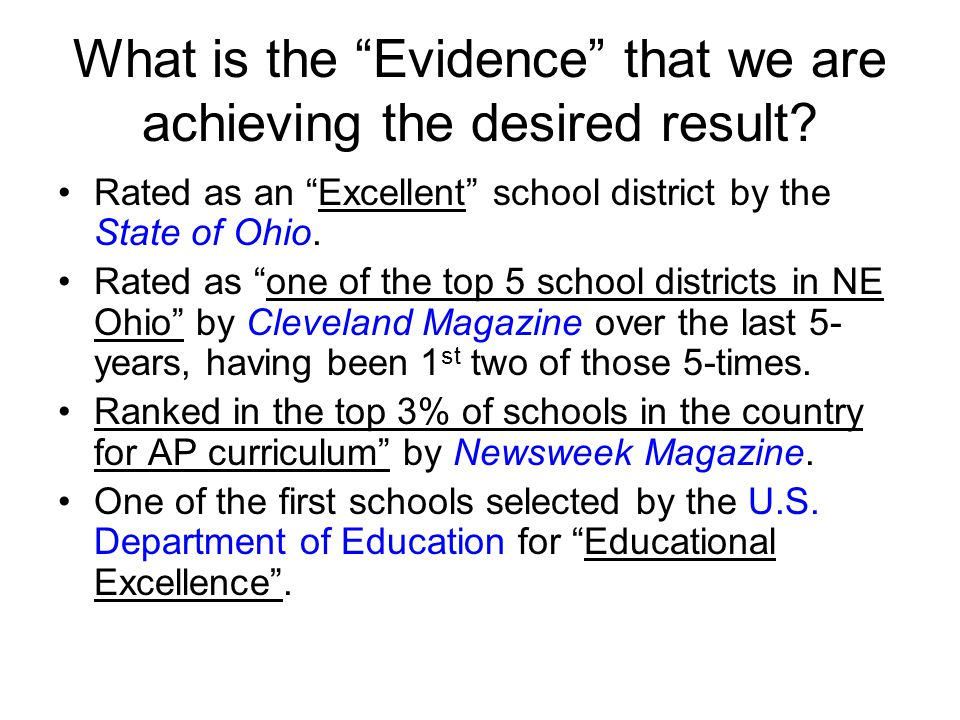 What is the Evidence of student success.