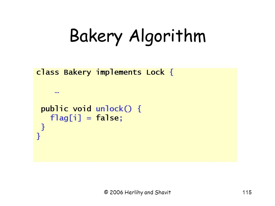 © 2006 Herlihy and Shavit115 Bakery Algorithm class Bakery implements Lock { … public void unlock() { flag[i] = false; }
