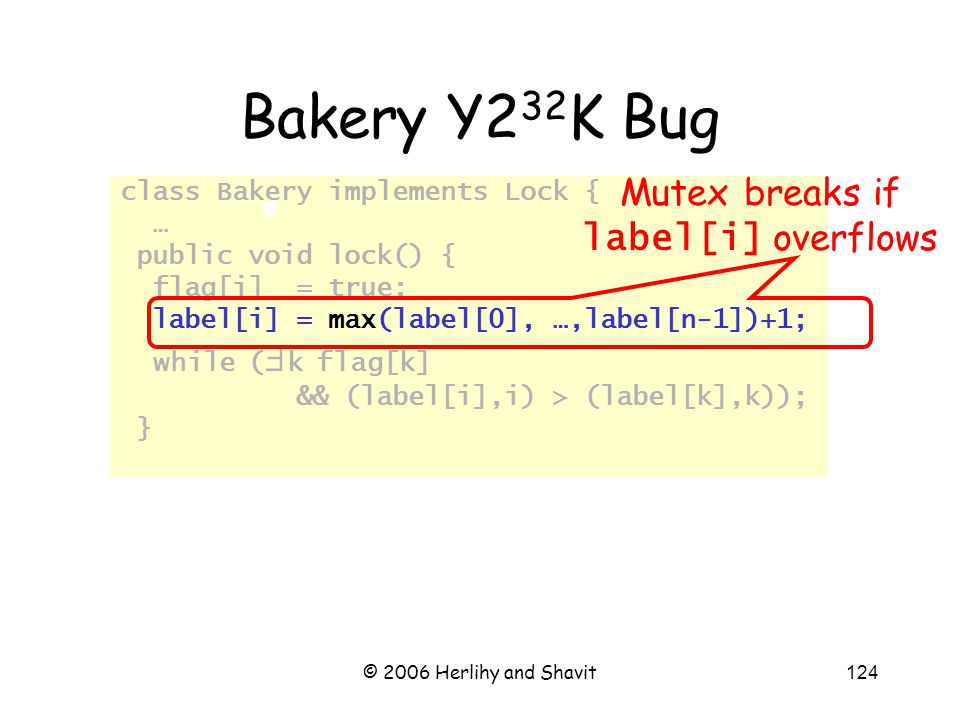 © 2006 Herlihy and Shavit124 Bakery Y2 32 K Bug class Bakery implements Lock { … public void lock() { flag[i] = true; label[i] = max(label[0], …,label[n-1])+1; while (  k flag[k] && (label[i],i) > (label[k],k)); } Mutex breaks if label[i] overflows