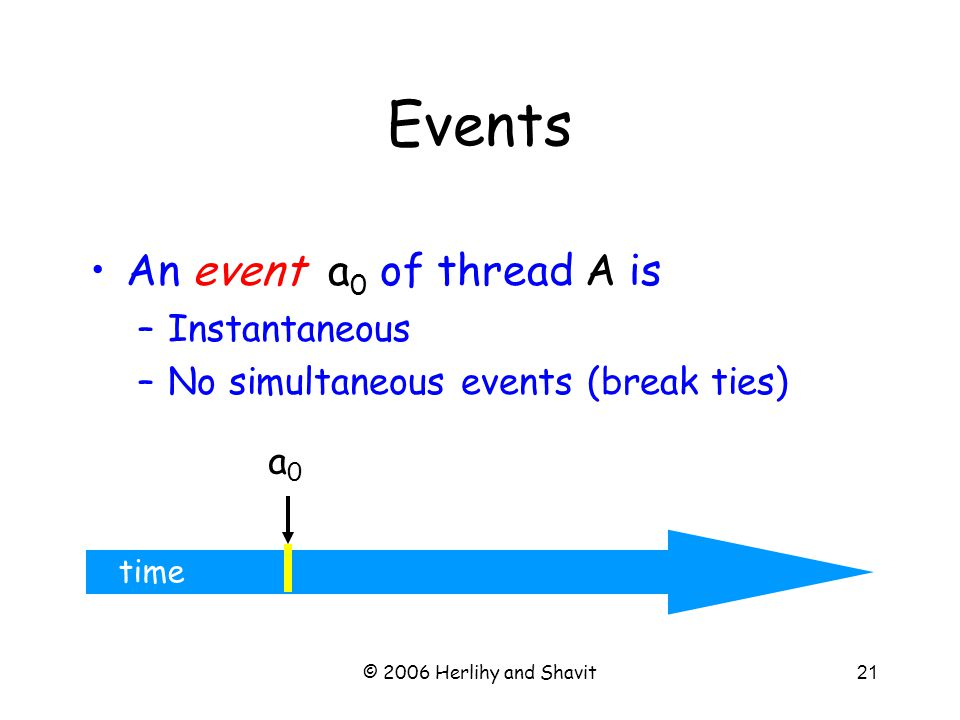 © 2006 Herlihy and Shavit21 time An event a 0 of thread A is –Instantaneous –No simultaneous events (break ties) a0a0 Events
