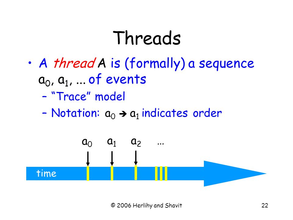 © 2006 Herlihy and Shavit22 time A thread A is (formally) a sequence a 0, a 1,...