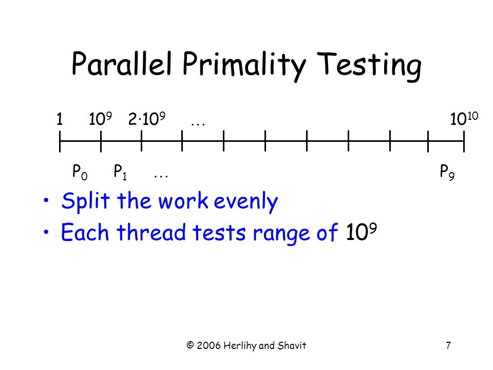 © 2006 Herlihy and Shavit7 Parallel Primality Testing Split the work evenly Each thread tests range of 10 9 … … 10 910 2·10 9 1 P0P0 P1P1 P9P9