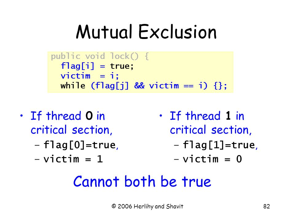 © 2006 Herlihy and Shavit82 public void lock() { flag[i] = true; victim = i; while (flag[j] && victim == i) {}; Mutual Exclusion If thread 1 in critical section, –flag[1]=true, –victim = 0 If thread 0 in critical section, –flag[0]=true, –victim = 1 Cannot both be true