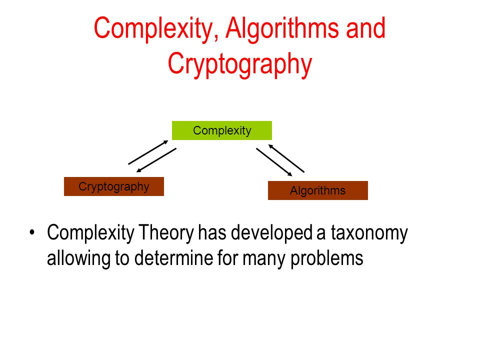 Complexity, Algorithms and Cryptography Complexity Theory has developed a taxonomy allowing to determine for many problems Cryptography Algorithms Complexity