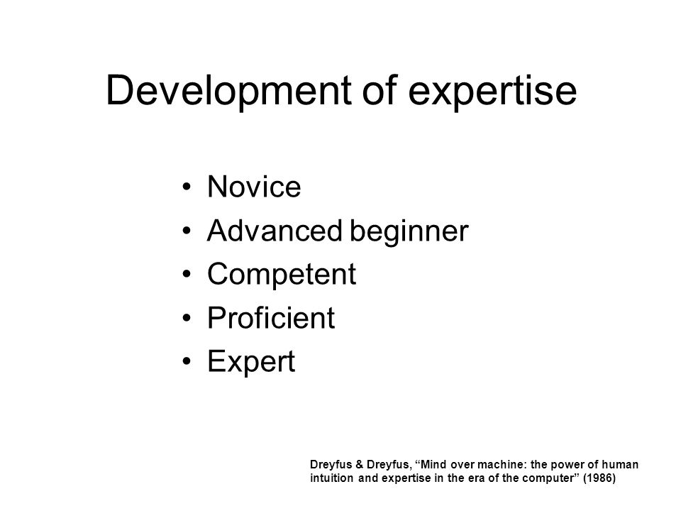 Development of expertise Novice Advanced beginner Competent Proficient Expert Dreyfus & Dreyfus, Mind over machine: the power of human intuition and expertise in the era of the computer (1986)