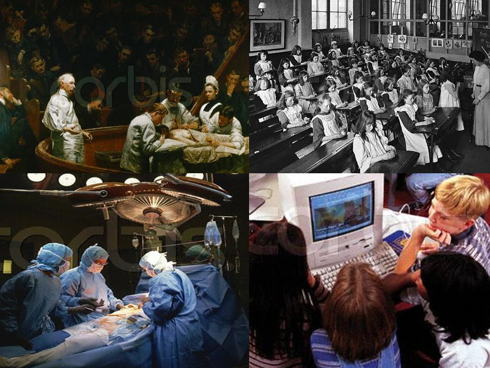 Compare hospitals with schools High use of technology means a Victorian surgeon would be unable to work in a modern operating theatre Low use of technology means a Victorian teacher would still feel at home in most modern classrooms We need to modernise our classrooms!