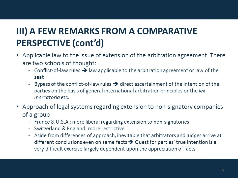 15 Applicable law to the issue of extension of the arbitration agreement.