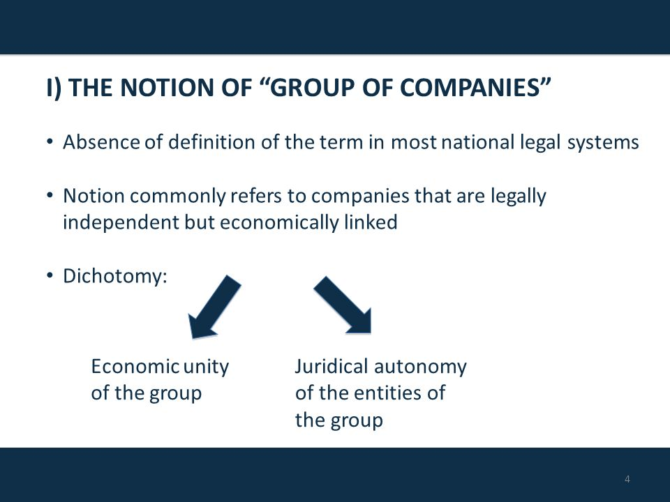 4 Absence of definition of the term in most national legal systems Notion commonly refers to companies that are legally independent but economically linked Dichotomy: I) THE NOTION OF GROUP OF COMPANIES Economic unity of the group Juridical autonomy of the entities of the group