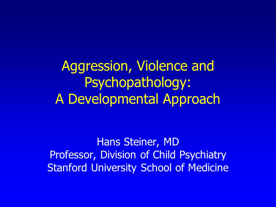 Aggression, Violence and Psychopathology: A Developmental Approach Hans Steiner, MD Professor, Division of Child Psychiatry Stanford University School of Medicine