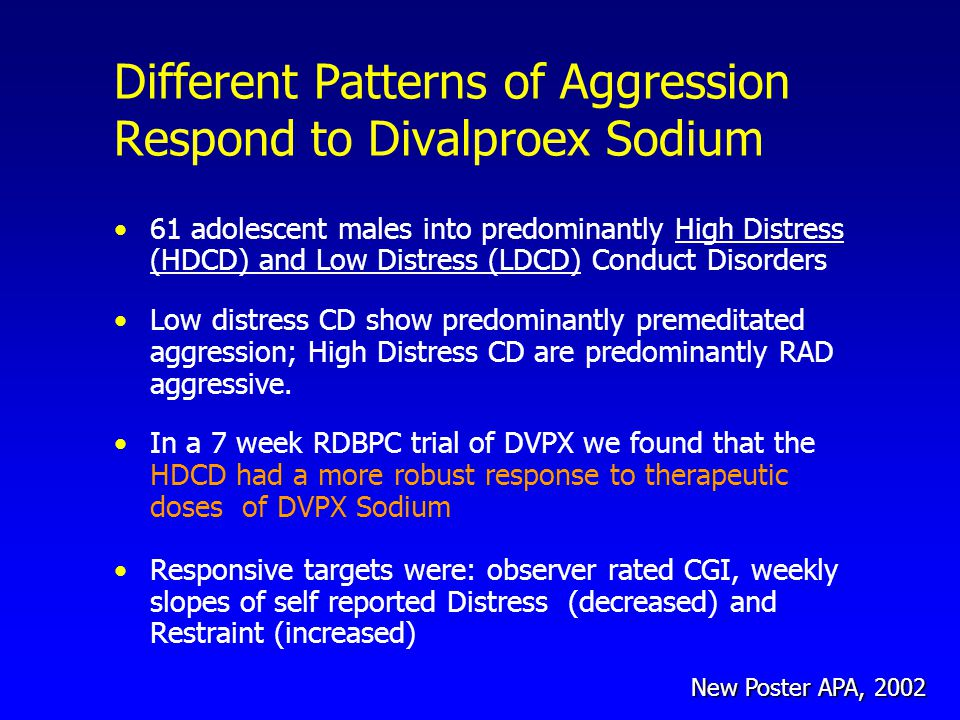 Different Patterns of Aggression Respond to Divalproex Sodium 61 adolescent males into predominantly High Distress (HDCD) and Low Distress (LDCD) Conduct Disorders Low distress CD show predominantly premeditated aggression; High Distress CD are predominantly RAD aggressive.