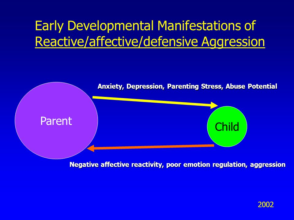 Early Developmental Manifestations of Reactive/affective/defensive Aggression Parent Child Anxiety, Depression, Parenting Stress, Abuse Potential Negative affective reactivity, poor emotion regulation, aggression 2002