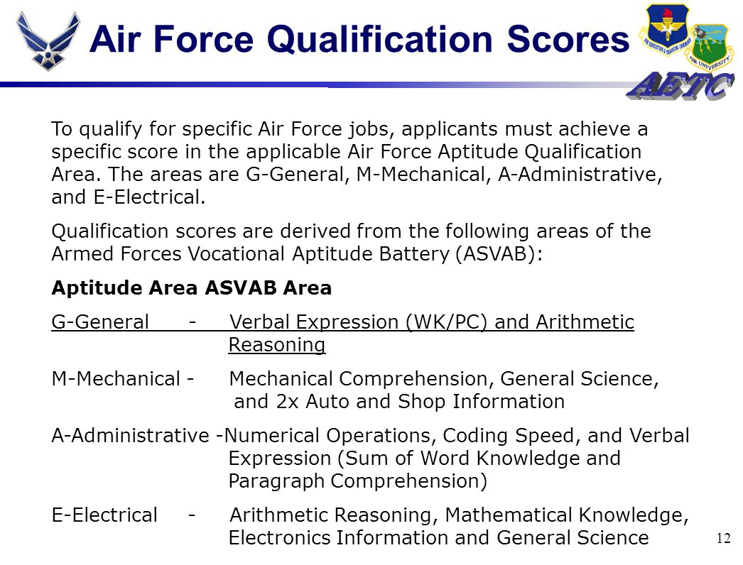 12 Air Force Qualification Scores To qualify for specific Air Force jobs, applicants must achieve a specific score in the applicable Air Force Aptitude Qualification Area.
